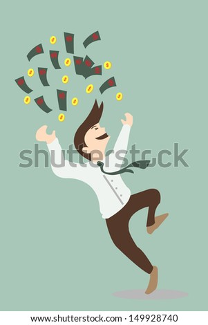 happy business man with money. vector illustration