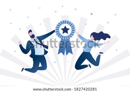 Happy business people or office workers in jump. Successful team with winner medal sign. Award ceremony for winners. Quality mark with star. Gender equality. Adults in trendy style.Vector illustration