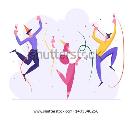 Happy Business People Party Celebration. Cheerful Man and Woman Characters Celebrating New Year, Christmas, Birthday with Confetti and Champagne Glass. Vector flat illustration