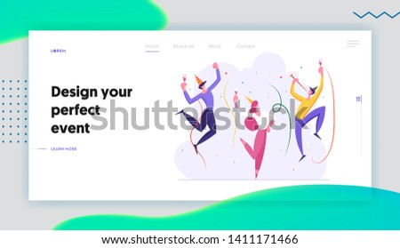 Happy Business People Party Celebration Landing Page. Cheerful Man and Woman Characters Celebrating New Year, Christmas, Birthday with Confetti and Champagne Glass Web Banner. Vector flat illustration