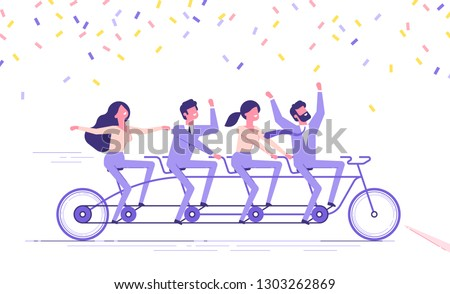 Happy business people team is riding fast on a four-person tandem bike and crossing finish line. Team building and goals achievement concept. Modern vector illustration.