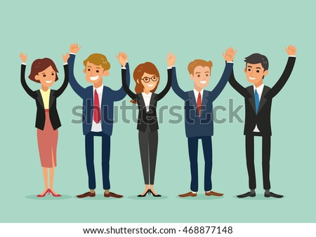 happy business team standing and holding hands together vector cartoon illustration