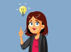 Happy Business Woman Having a Brilliant Idea. Innovative manager envisioning a smart marketing strategy