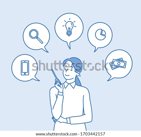 Happy business woman, woman talking about their expertise and ideas with icons in speech bubbles. Hand drawn style vector design illustrations.