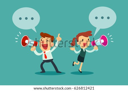 Happy businessman and businesswoman talking into megaphone. Make an announcement.