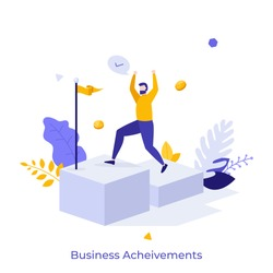 Happy businessman ascending stairs and celebrating financial success. Concept of business achievement, achieved goal, successful entrepreneur. Modern flat colorful vector illustration for banner.