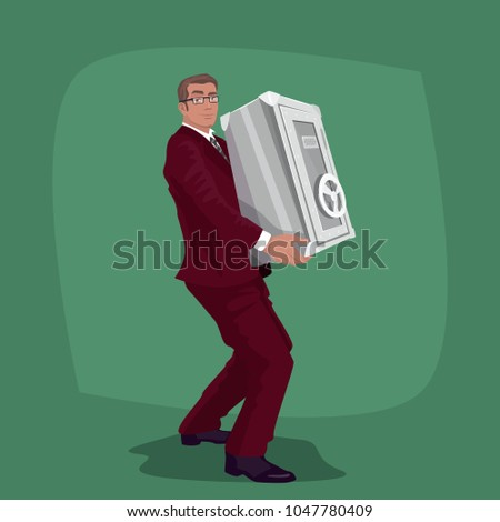 happy businessman carry steel