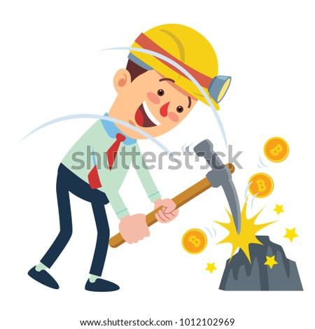 happy businessman digging and