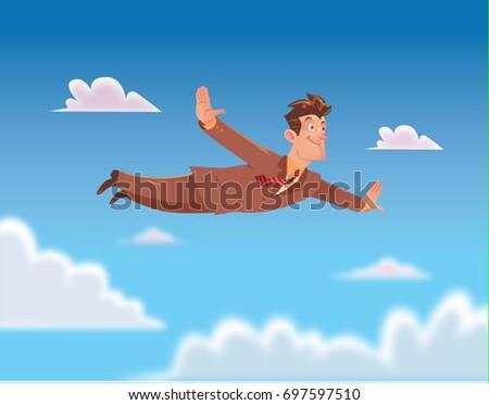 happy businessman flying
