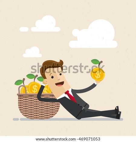 Happy businessman get a profit, dividends. Return on investments as golden apples in basket. Vector, illustration, flat