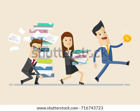 Happy businessman go with a gold coin in his hand and his subordinates follow it with a pile of folders in his hands. Vector, illustration, flat