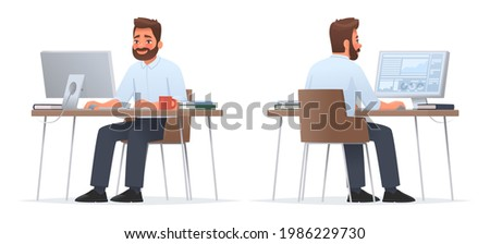 Happy businessman is sitting at desktop. Work the computer, financial analytics. Office worker or company employee. Front and back side. Vector illustration in cartoon style