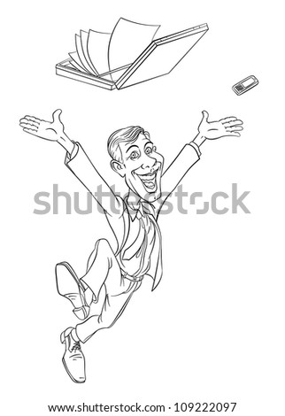 Happy businessman jumping. Sketch on white background
