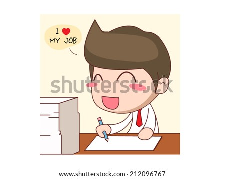Happy businessman, love job