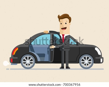happy businessman open the door