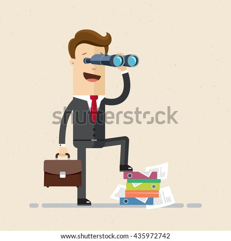 Happy businessman or manager is looking through a telescope. Vector, illustration