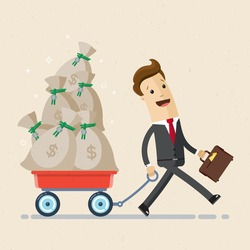 Happy businessman pulling cart full of money. Bags with money on a cart. Business and finance concept. Vector, illustration, flat