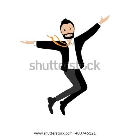 happy businessman rejoices