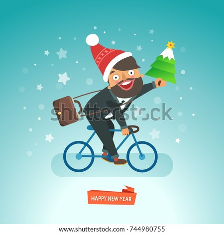 Happy Businessman riding a bicycle in Santa Claus red hat and carrying a Christmas tree. Vector illustration
