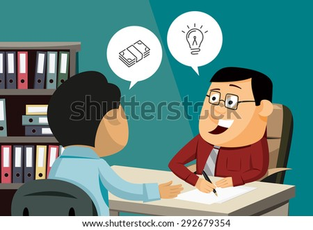 Happy businessman signs a contract. Man invests in shares. Customer service. Financial advice. Simple vector illustration.