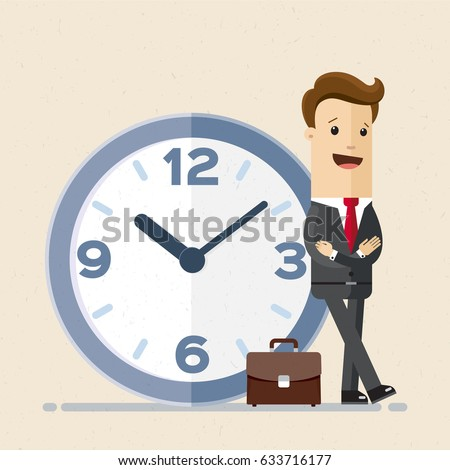 Happy businessman stand leaning to big clock. Concept of time management.  Vector, illustration, flat.