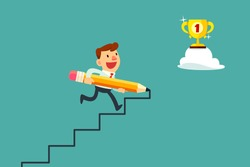 Happy businessman use pencil to create his own stair to success.
