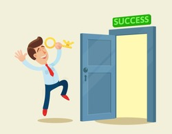Happy businessman with golden key have opened the door to success. Key to success. Business, vector flat illustration. Cartoon, concept.