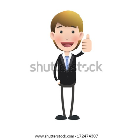 Happy businessman with his thumb up over isolated background. Vector design.