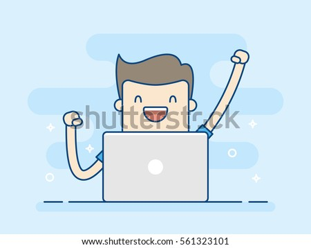 Happy Businessman With Laptop. Concept Of Successful. Business Concept Illustration.