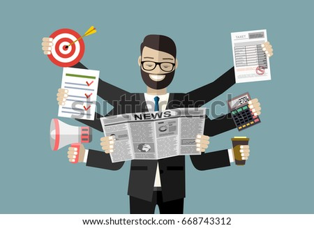 Happy businessman with many hands holding papers, briefcase, mobile phone. Multitasking and productivity concept. Vector flat design illustration.