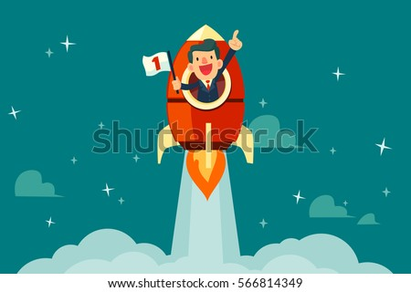 Happy businessman with number one flag on a rocket ship launching to starry sky. Start up business concept.