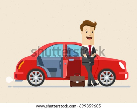 Happy businesstand next to new red car.  Business and finance concept. Vector, Illustration, Flat