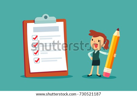 Happy businesswoman holding a pencil looking at completed checklist on clipboard. Business concept.
