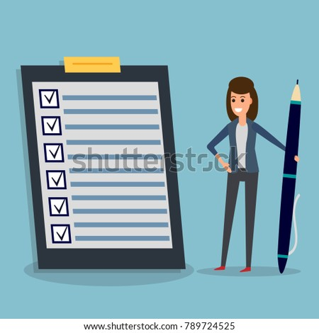 Happy businesswoman holding pen or pencil, looking at checklist on clipboard. To-do list and planning project with office supplies. Flat icon modern design style illustration. Business concept.