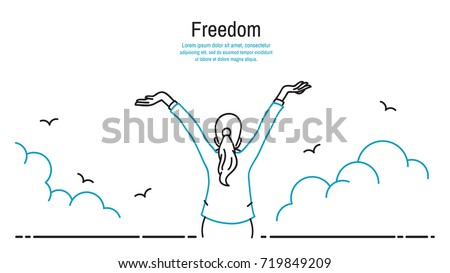 Happy businesswoman standing and stretching two hands towards sky, business concept in freedom, happiness, peaceful. Outline, thin line art, linear, hand drawn sketching design, simple style.