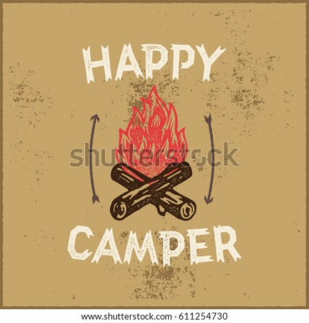 happy camper hand lettering...