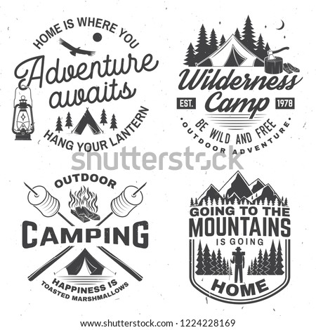 Happy camper. Vector. Concept for shirt or logo, print, stamp or tee. Vintage design with lantern, camping tent, campfire, forest cabin, sweet marshmallows on stick, mountain and forest silhouette.