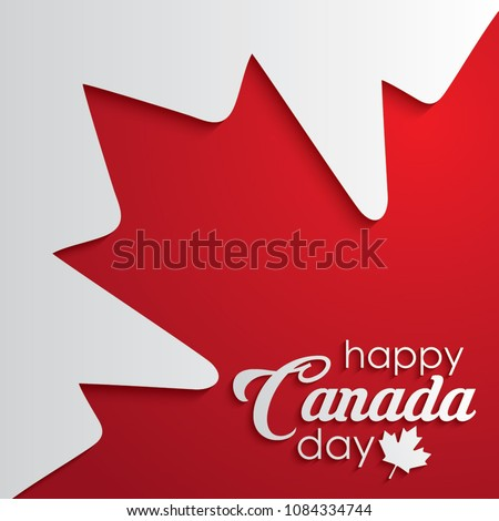 Happy Canada Day calligraphy lettering with red maple leaf. vector illustration. paper art style