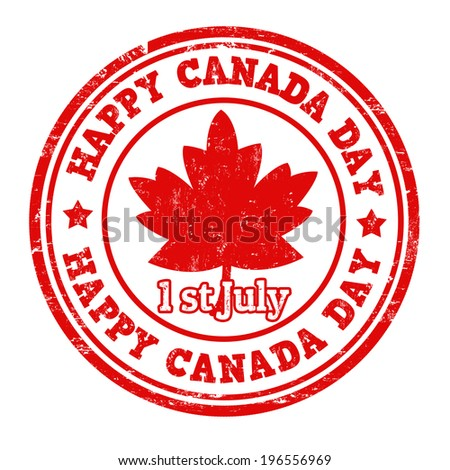 Happy Canada day grunge rubber stamp on white vector illustration