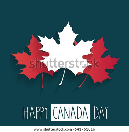 happy canada day poster on blue