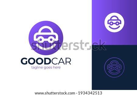 Happy Car Logo Design. Smile car vector logo design template. Car face in circle. Funny logotype design.