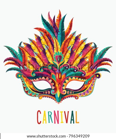 Happy carnival festive concept with colorful mask. Carnival mask. Vector illustration