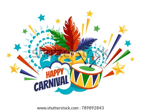 Happy Carnival Festive Concept with Drum Mask and Fireworks Isolated on White Background