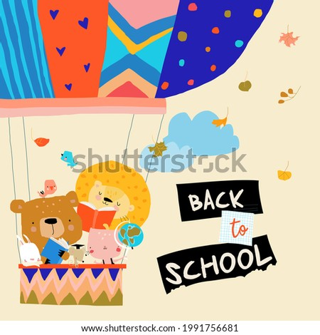 Happy Cartoon Animals flying to the School by Air Balloon
