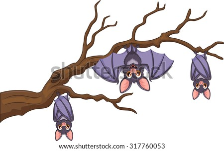 Happy cartoon bat hanging on tree