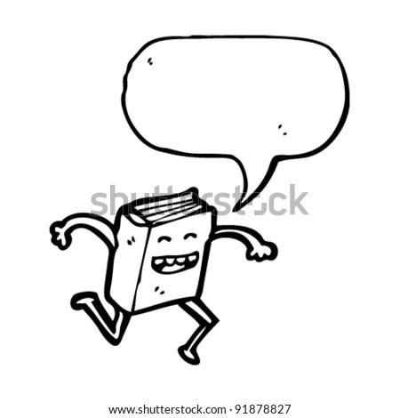 happy cartoon book running away - stock vector