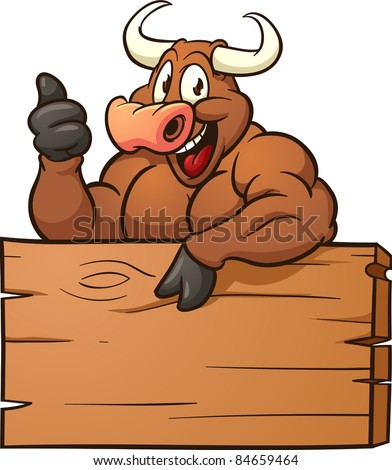 Happy cartoon bull with a wooden sign. Vector illustration with simple gradients. All in a single layer.