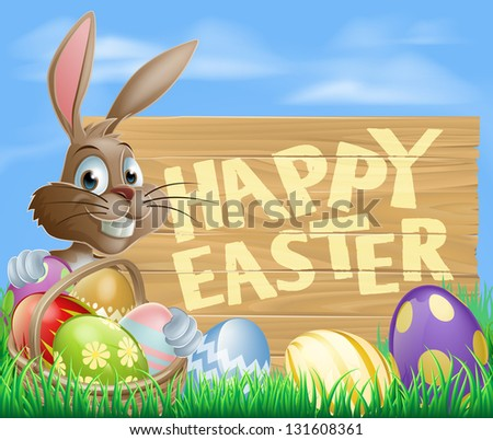 Happy cartoon Bunny character with Easter Eggs and hamper and wooden Happy Easter sign