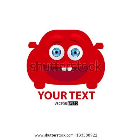 Happy cartoon car icon. Vector illustration