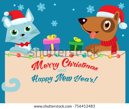 happy cartoon cat and dog
